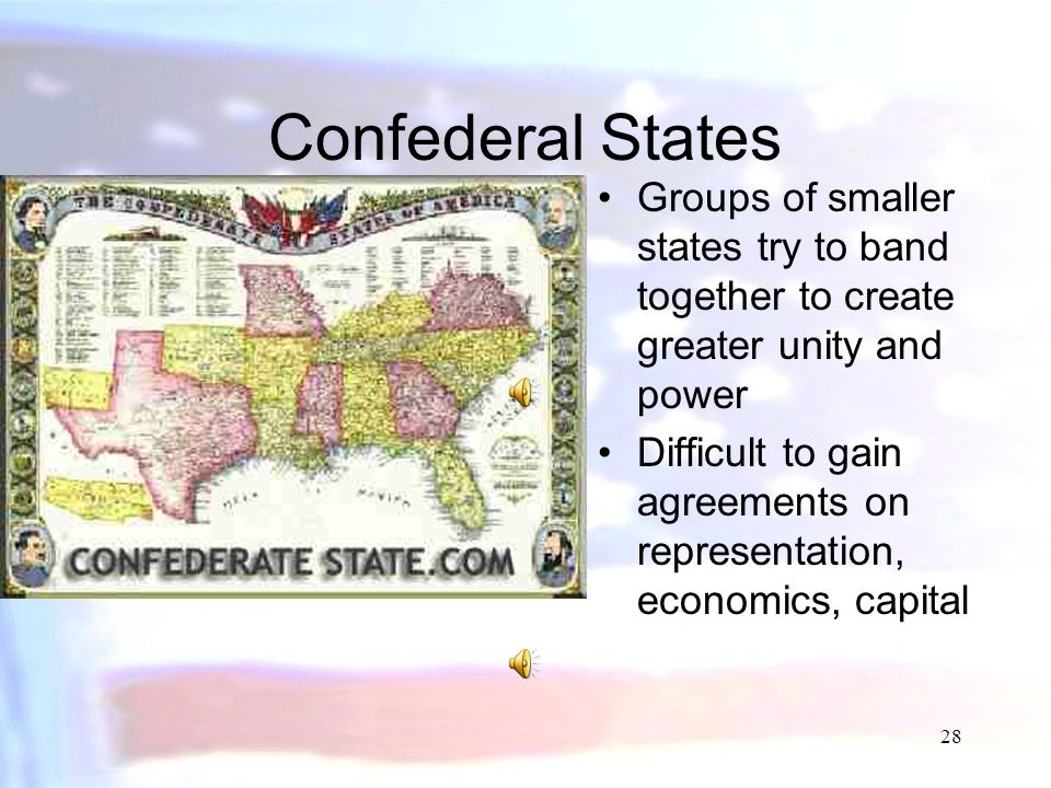 27 Federal States States where decisions are split between the central government and more local divisions