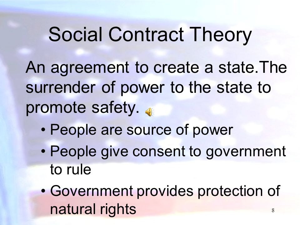 7 Natural Rights Theory Man in state of nature has all rights possible.