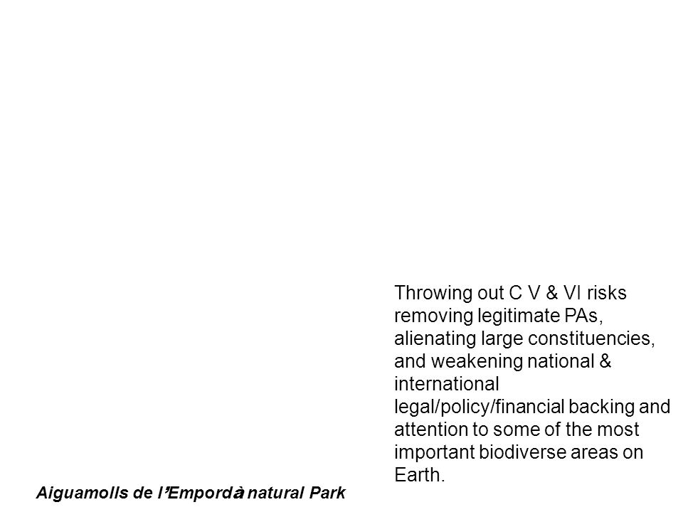 Aiguamolls de l Empord à natural Park Throwing out C V & VI risks removing legitimate PAs, alienating large constituencies, and weakening national & international legal/policy/financial backing and attention to some of the most important biodiverse areas on Earth.