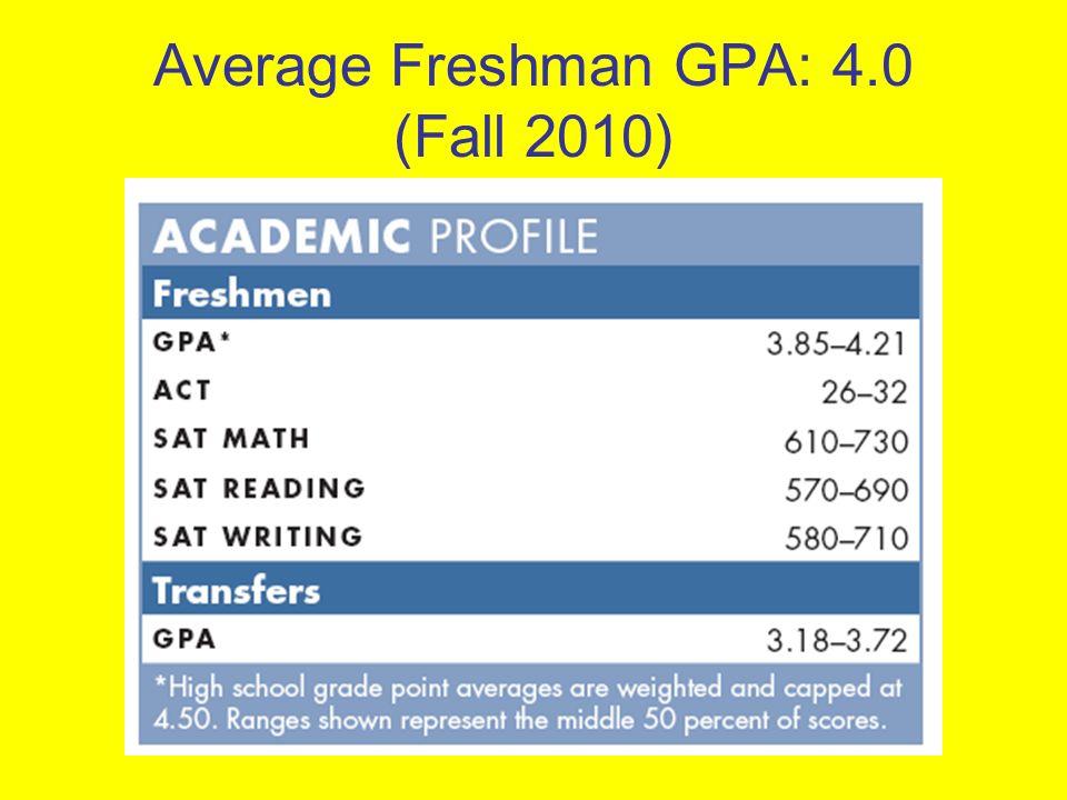 Average Freshman GPA: 4.0 (Fall 2010)