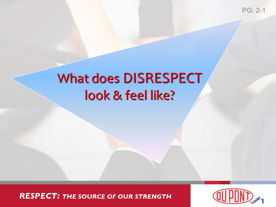 What does DISRESPECT look & feel like 1 PG: 2-1