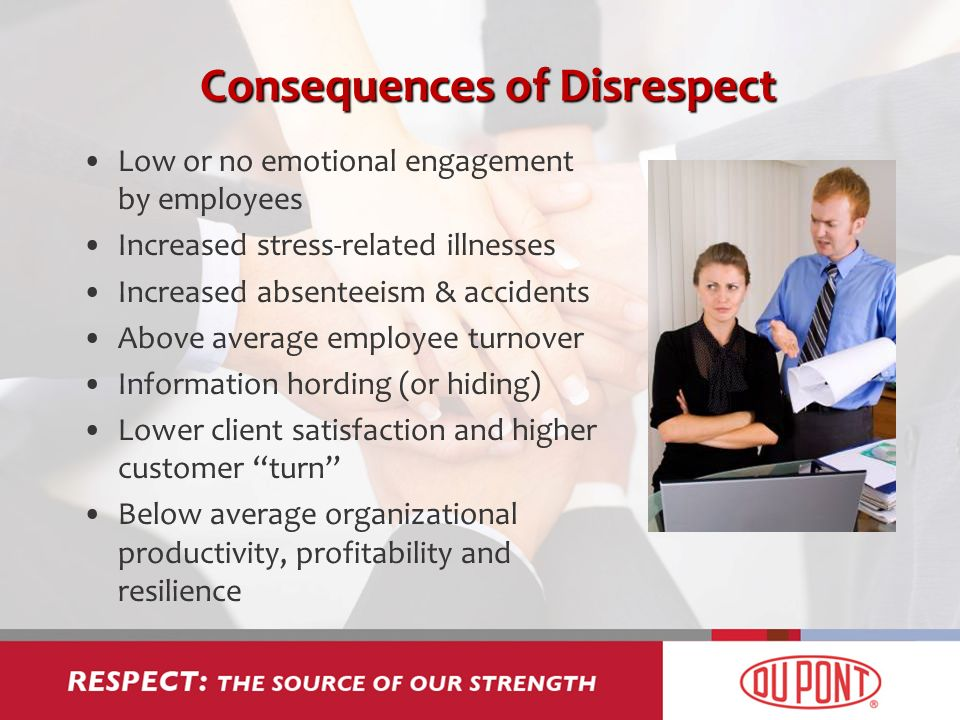 Consequences of Disrespect Low or no emotional engagement by employees Increased stress-related illnesses Increased absenteeism & accidents Above average employee turnover Information hording (or hiding) Lower client satisfaction and higher customer turn Below average organizational productivity, profitability and resilience