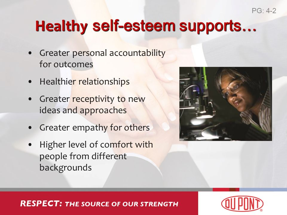 Healthy self-esteem supports… Greater personal accountability for outcomes Healthier relationships Greater receptivity to new ideas and approaches Greater empathy for others Higher level of comfort with people from different backgrounds PG: 4-2