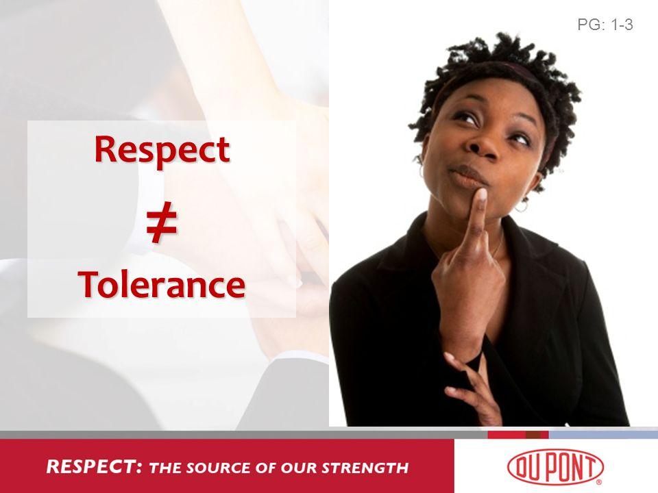 Respect Tolerance PG: 1-3