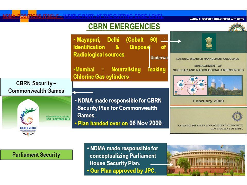 CBRN Security – Commonwealth Games Parliament Security Mayapuri, Delhi (Cobalt 60) : Identification & Disposal of Radiological sources Mumbai : Neutra