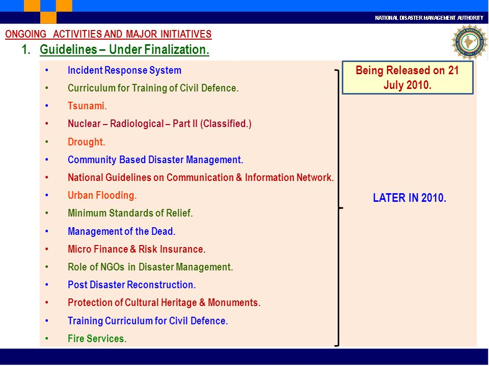 Incident Response System LATER IN 2010. Curriculum for Training of Civil Defence. Tsunami. Nuclear – Radiological – Part II (Classified.) Drought. Com