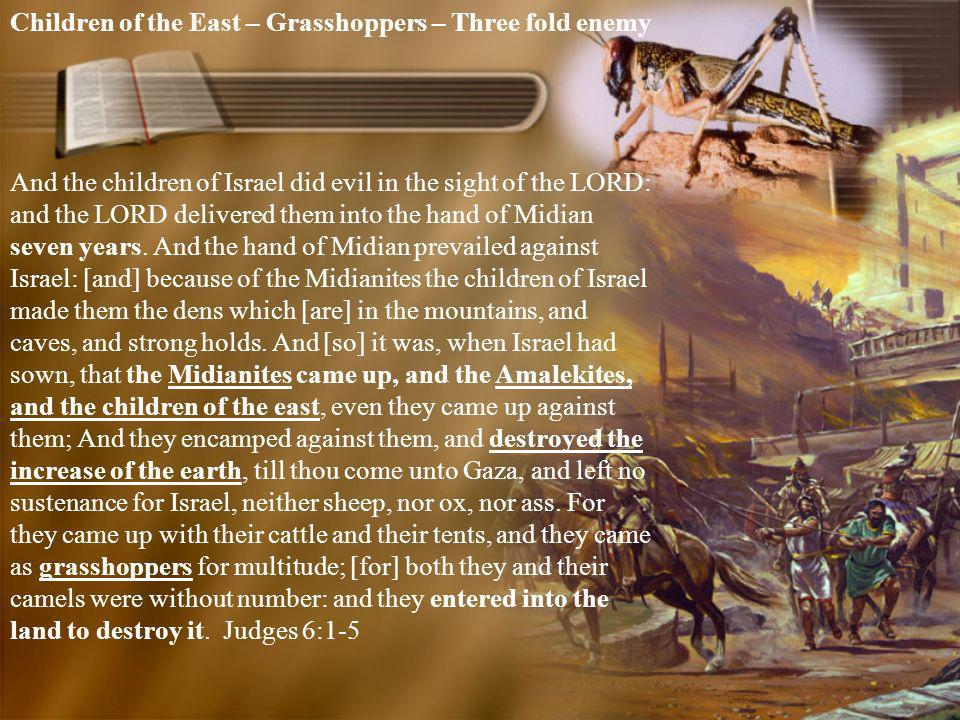 Children of the East – Grasshoppers – Three fold enemy And the children of Israel did evil in the sight of the LORD: and the LORD delivered them into