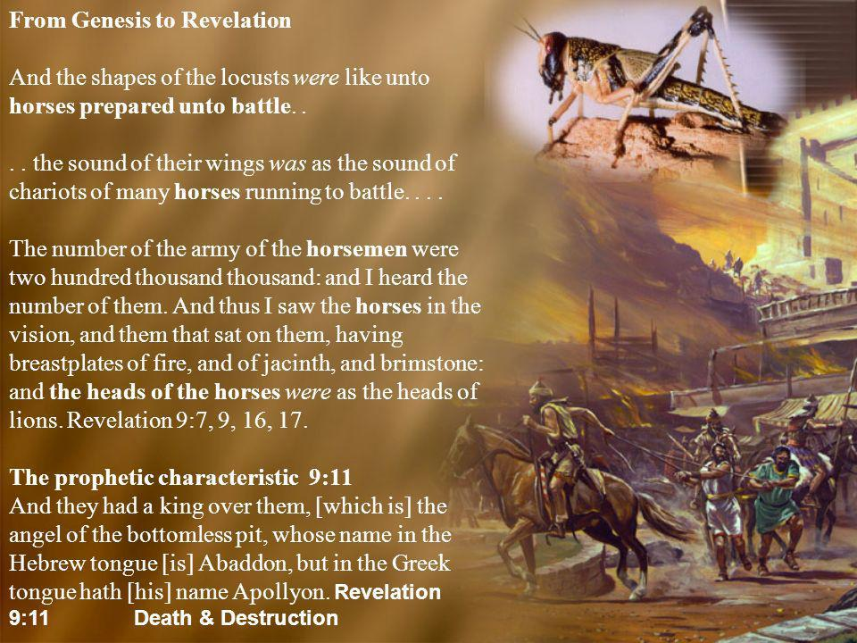 From Genesis to Revelation And the shapes of the locusts were like unto horses prepared unto battle.... the sound of their wings was as the sound of c