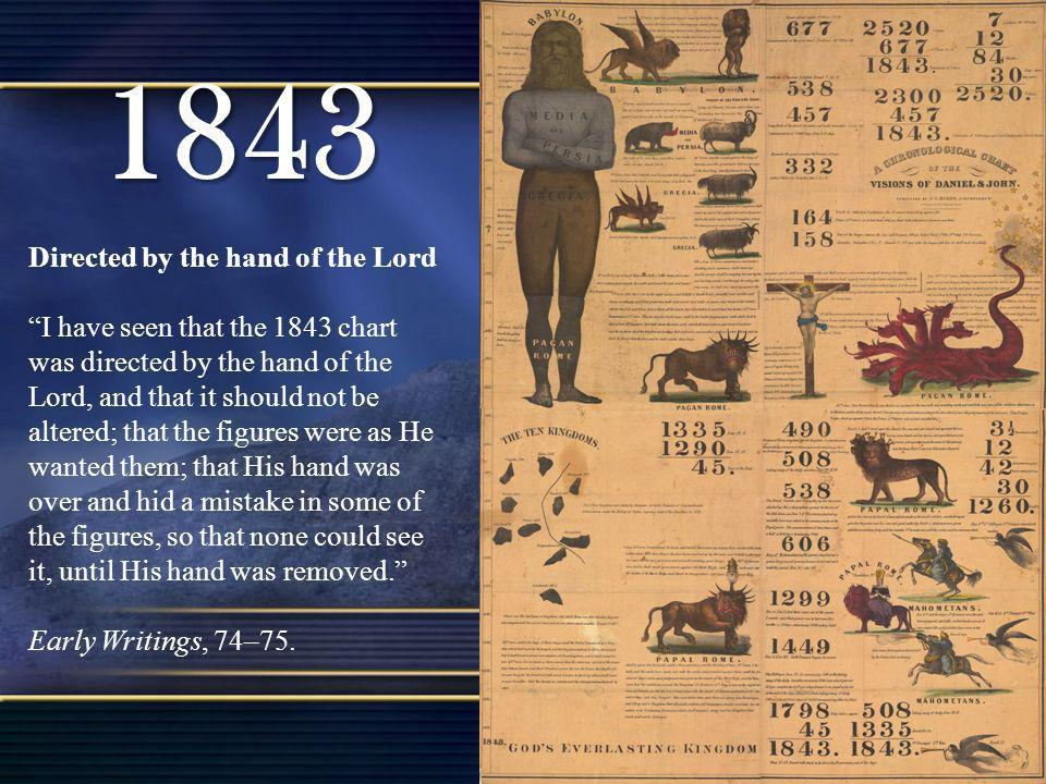 1843 Directed by the hand of the Lord I have seen that the 1843 chart was directed by the hand of the Lord, and that it should not be altered; that th