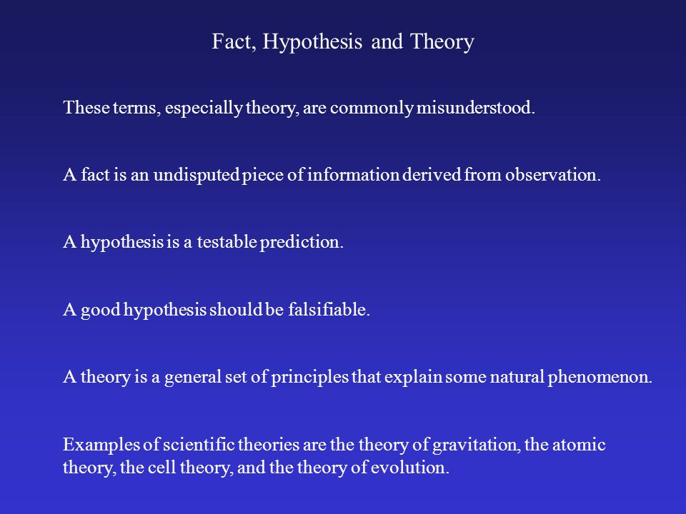 Fact, Hypothesis and Theory These terms, especially theory, are commonly misunderstood. A hypothesis is a testable prediction. A fact is an undisputed