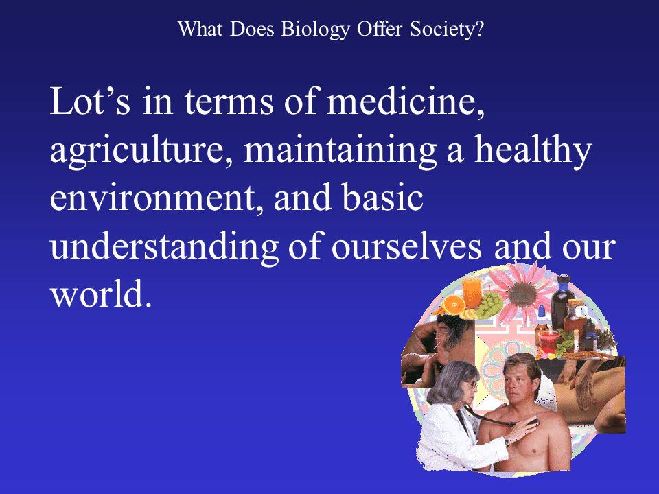 What Does Biology Offer Society? Lots in terms of medicine, agriculture, maintaining a healthy environment, and basic understanding of ourselves and o