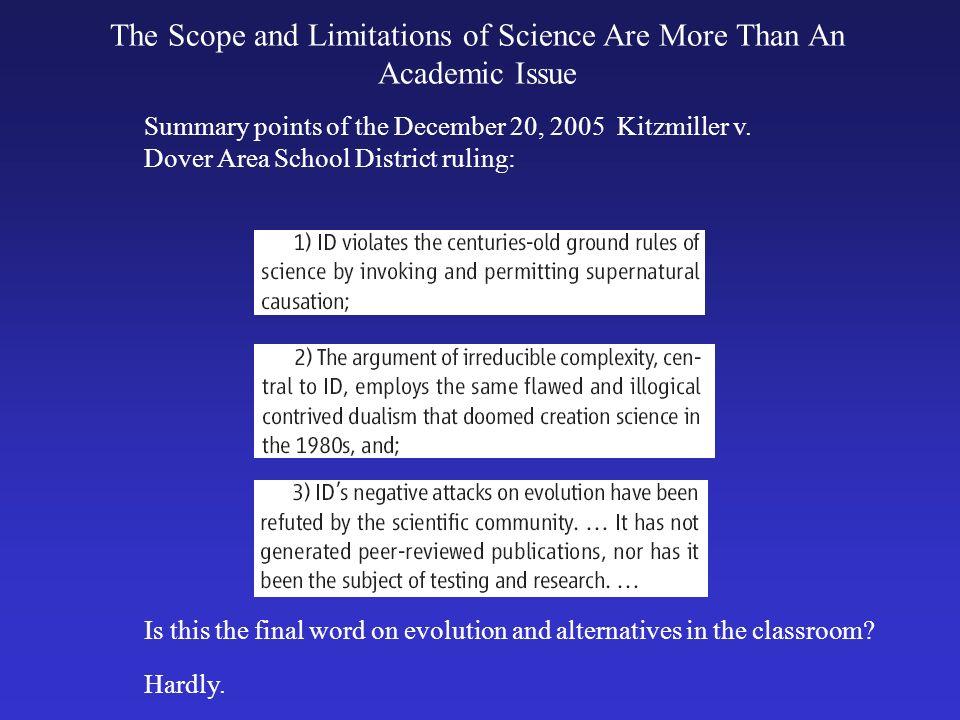 Summary points of the December 20, 2005 Kitzmiller v.