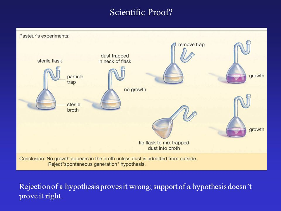 Rejection of a hypothesis proves it wrong; support of a hypothesis doesnt prove it right. Scientific Proof?