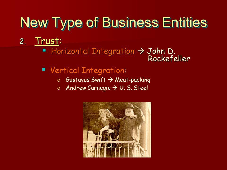 New Type of Business Entities 2. Trust: Horizontal Integration John D. Rockefeller Horizontal Integration John D. Rockefeller 2. Trust: Horizontal Int