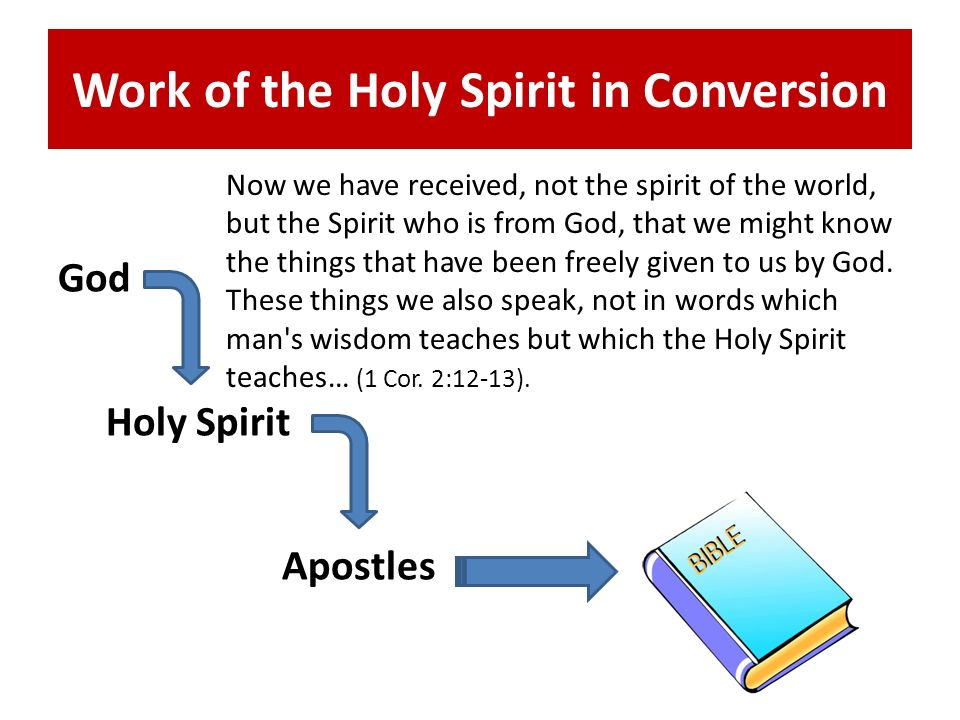 Work of the Holy Spirit in Conversion God Holy Spirit Apostles Now we have received, not the spirit of the world, but the Spirit who is from God, that