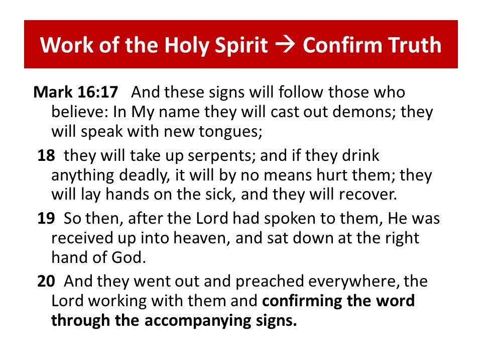 Work of the Holy Spirit Confirm Truth Heb.