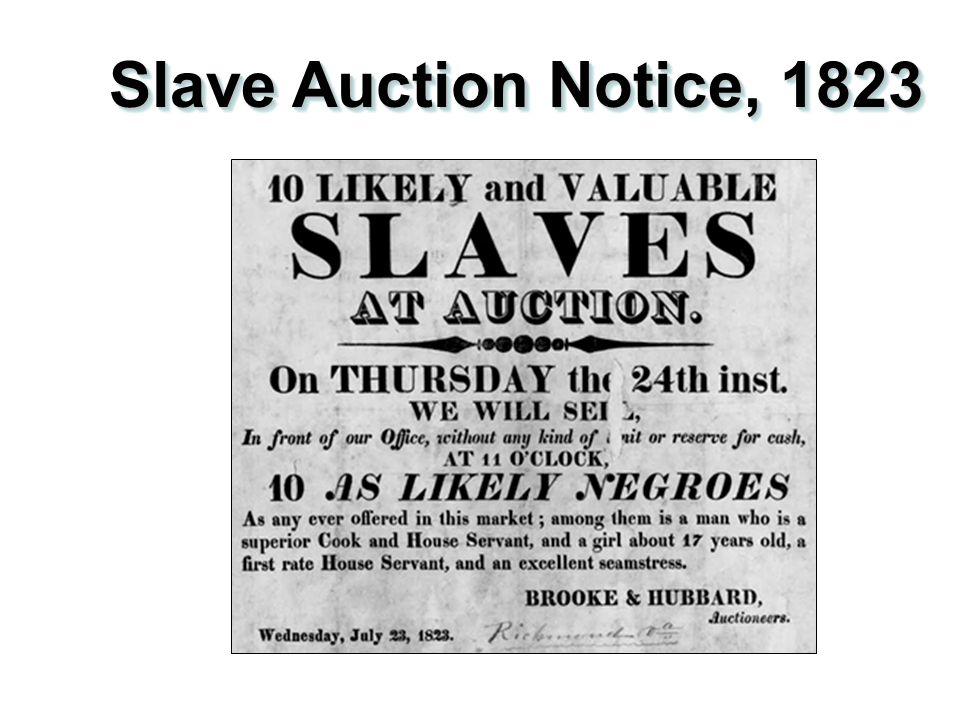Slave Auction Notice, 1823