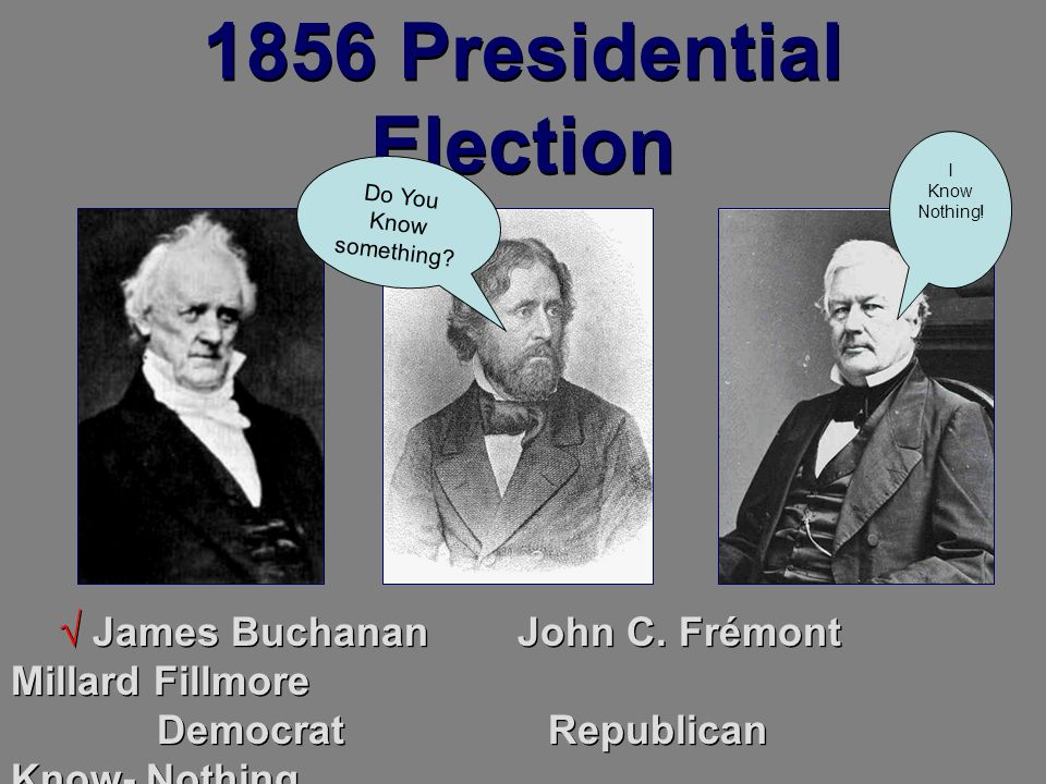 1856 Presidential Election James Buchanan John C. Frémont Millard Fillmore Democrat Republican Know- Nothing Do You Know something? I Know Nothing!