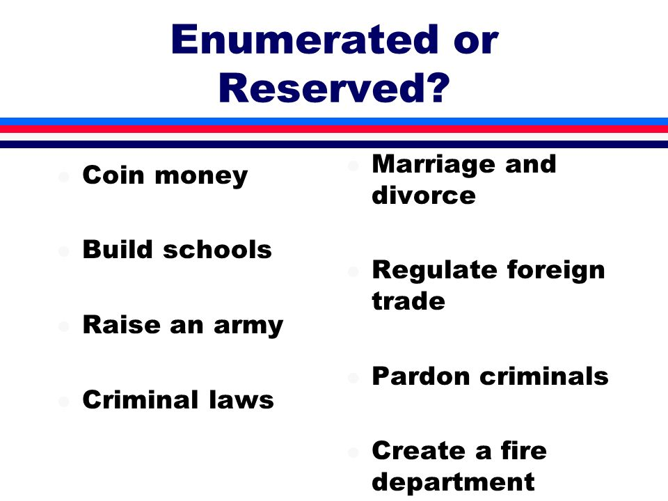Enumerated or Reserved? l Coin money l Build schools l Raise an army l Criminal laws l Marriage and divorce l Regulate foreign trade l Pardon criminal