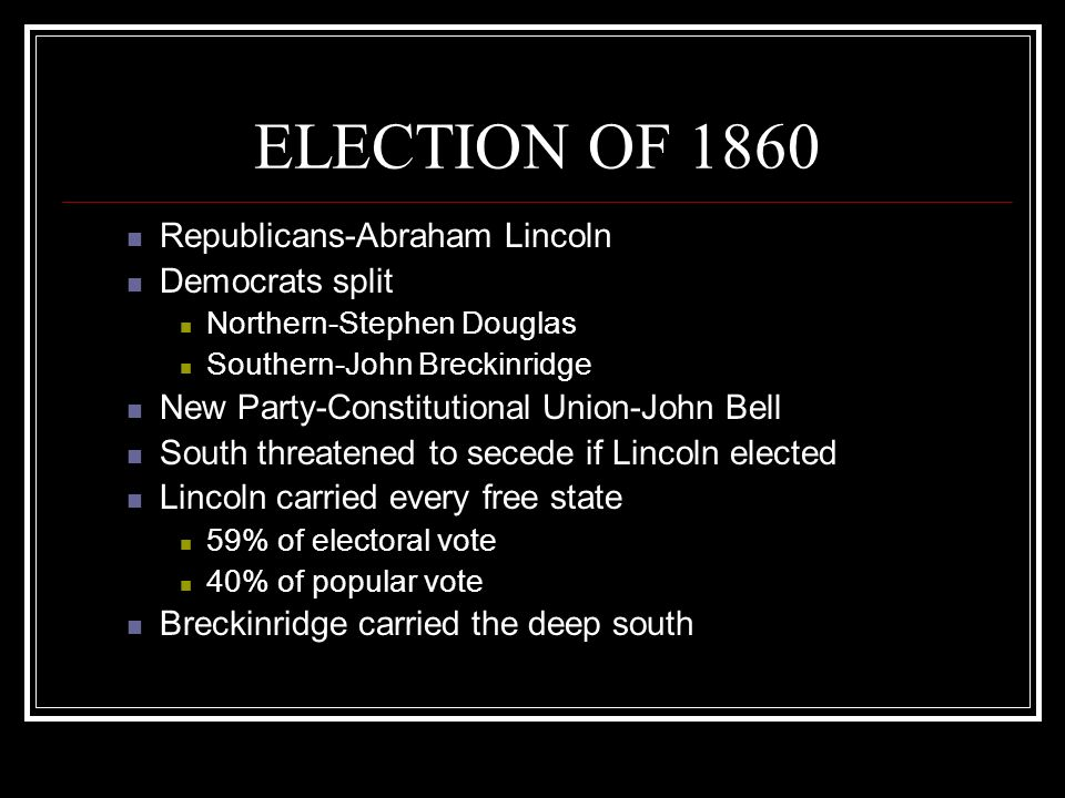 ELECTION OF 1860 Republicans-Abraham Lincoln Democrats split Northern-Stephen Douglas Southern-John Breckinridge New Party-Constitutional Union-John B