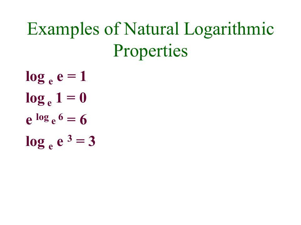 Examples of Natural Logarithmic Properties log e e = 1 log e 1 = 0 e log e 6 = 6 log e e 3 = 3