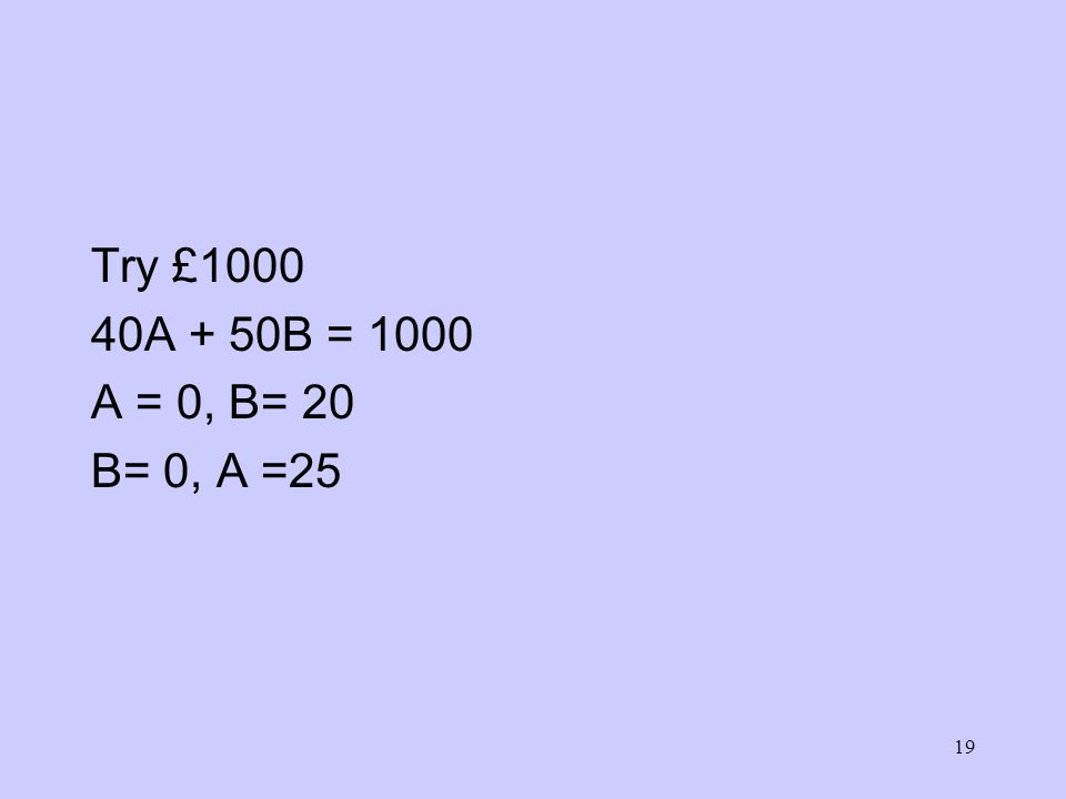 19 Try £1000 40A + 50B = 1000 A = 0, B= 20 B= 0, A =25