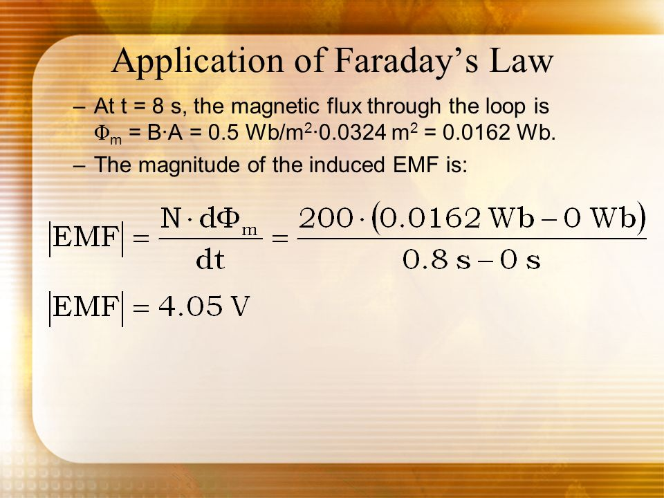 Application of Faradays Law –At t = 8 s, the magnetic flux through the loop is Φ m = B·A = 0.5 Wb/m 2 ·0.0324 m 2 = 0.0162 Wb. –The magnitude of the i