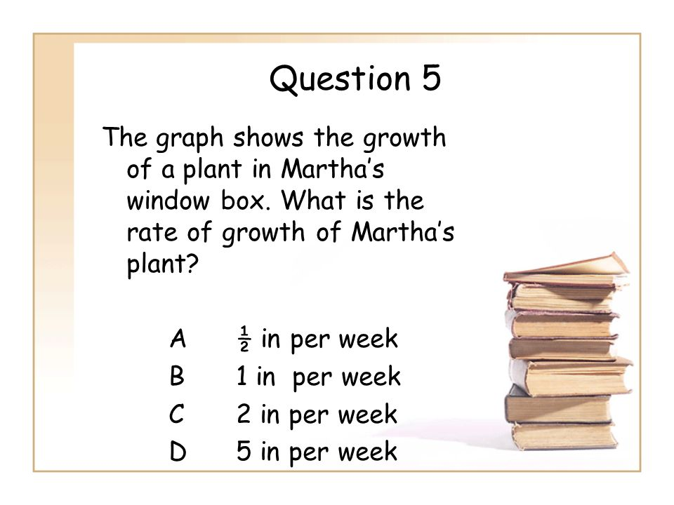 Question 5 The graph shows the growth of a plant in Marthas window box. What is the rate of growth of Marthas plant? A½ in per week B1 in per week C2