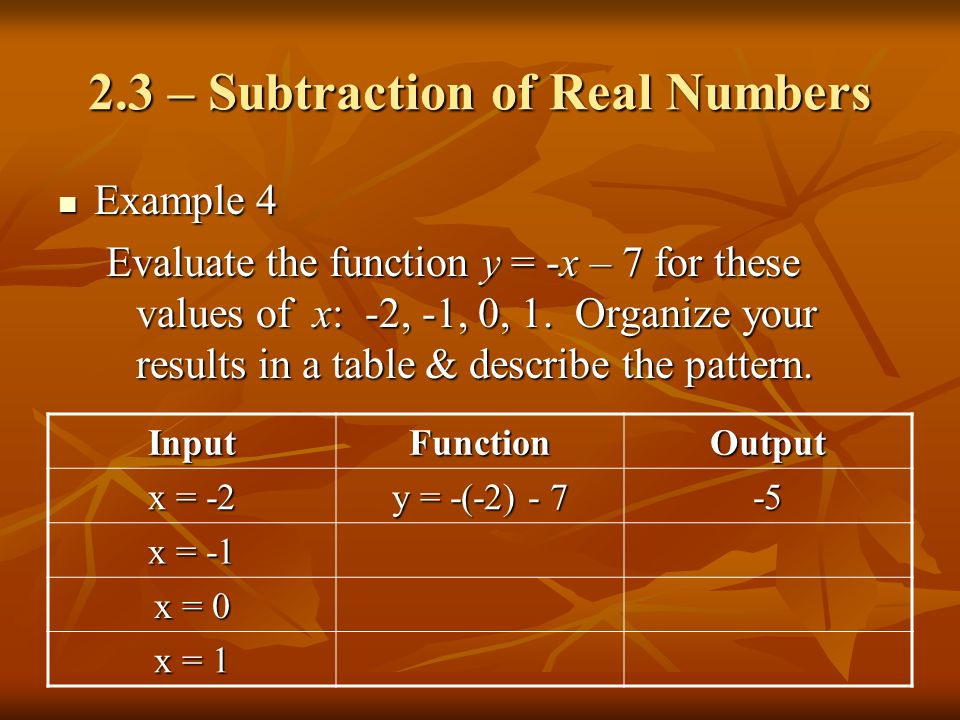 2.3 – Subtraction of Real Numbers Example 4 Example 4 Evaluate the function y = -x – 7 for these values of x: -2, -1, 0, 1. Organize your results in a