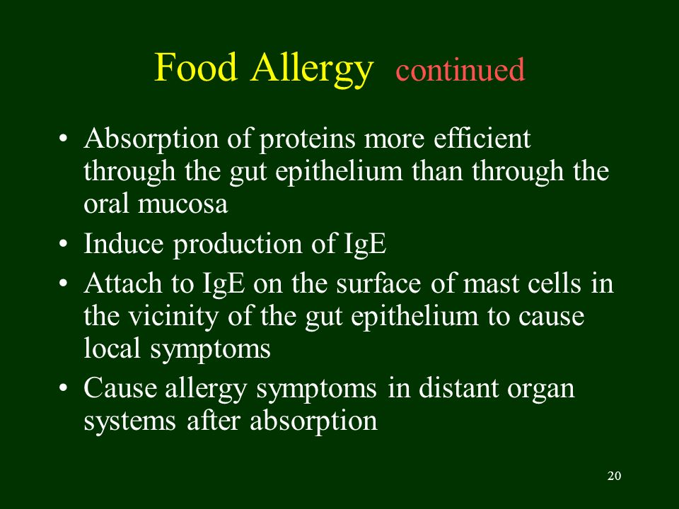 20 Food Allergy continued Absorption of proteins more efficient through the gut epithelium than through the oral mucosa Induce production of IgE Attac