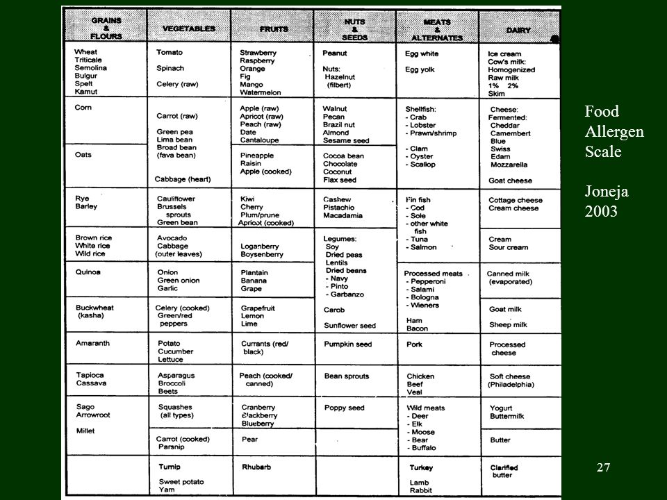 27 Food Allergen Scale Joneja 2003