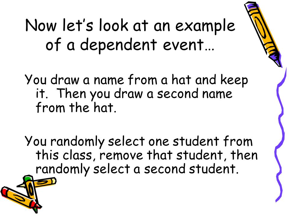 Now lets look at an example of a dependent event… You draw a name from a hat and keep it. Then you draw a second name from the hat. You randomly selec
