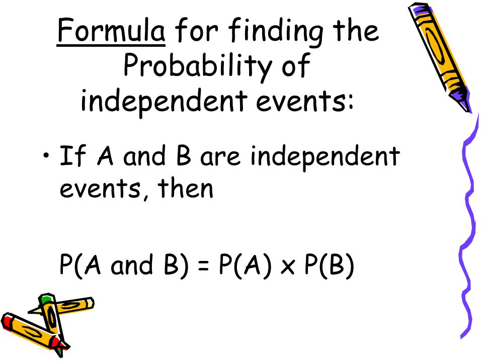 Formula for finding the Probability of independent events: If A and B are independent events, then P(A and B) = P(A) x P(B)
