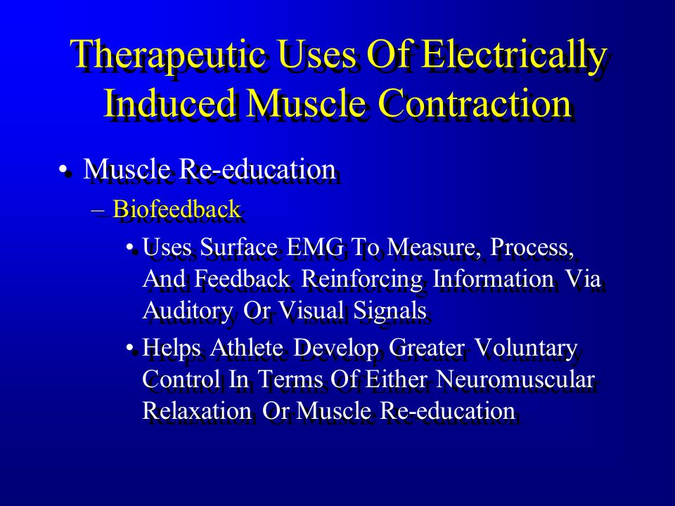 What Can Electrical Stimulating Currents Be Used For? Producing Muscle Contraction, Relaxation, And Tetany –Depends On Type Of Current Alternating (AC