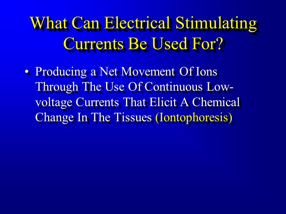What Can Electrical Stimulating Currents Be Used For? Facilitating Soft Tissue And Bone Healing Through Biostimulative Effects –Subsensory Microampera