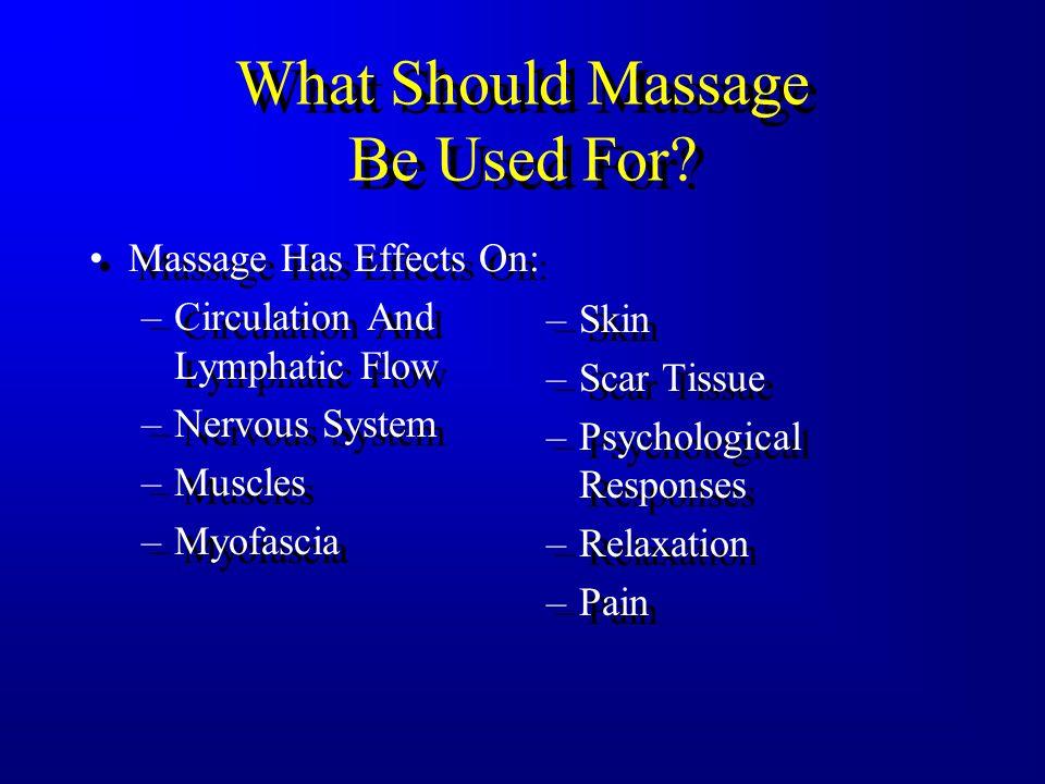Massage Many Massage Techniques –Hoffa Massage –Acupressure/Shiatsu –Connective Tissue –Myofascial Release –Rolfing –Trager Many Massage Techniques –H