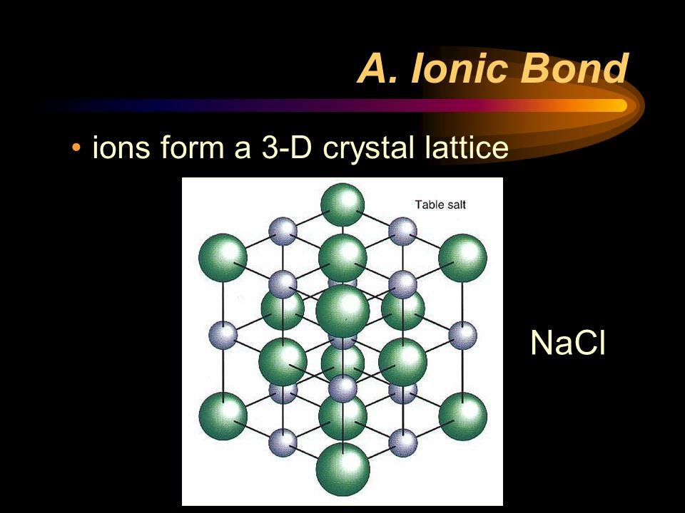 A. Ionic Bond ions form a 3-D crystal lattice NaCl
