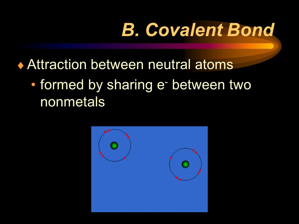 B. Covalent Bond Attraction between neutral atoms formed by sharing e - between two nonmetals