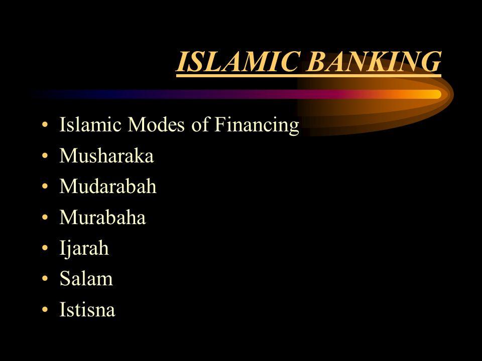 ISLAMIC BANKING Islamic Modes of Financing Musharaka Mudarabah Murabaha Ijarah Salam Istisna