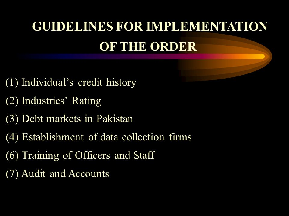 GUIDELINES FOR IMPLEMENTATION OF THE ORDER (1) Individuals credit history (2) Industries Rating (3) Debt markets in Pakistan (4) Establishment of data collection firms (6) Training of Officers and Staff (7) Audit and Accounts