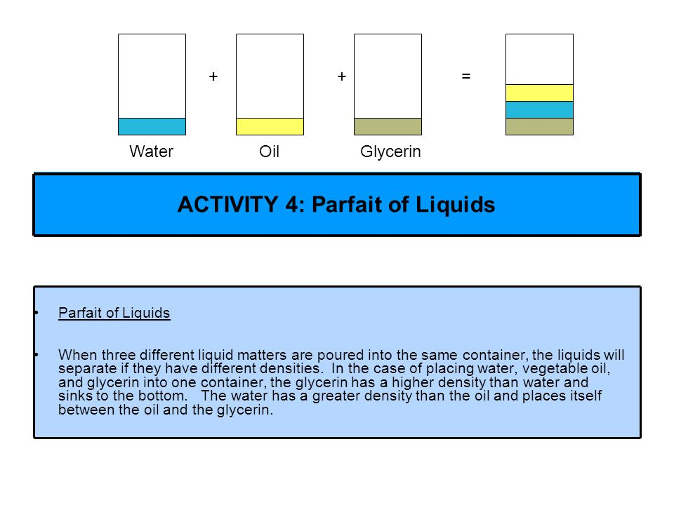 Parfait of Liquids When three different liquid matters are poured into the same container, the liquids will separate if they have different densities.