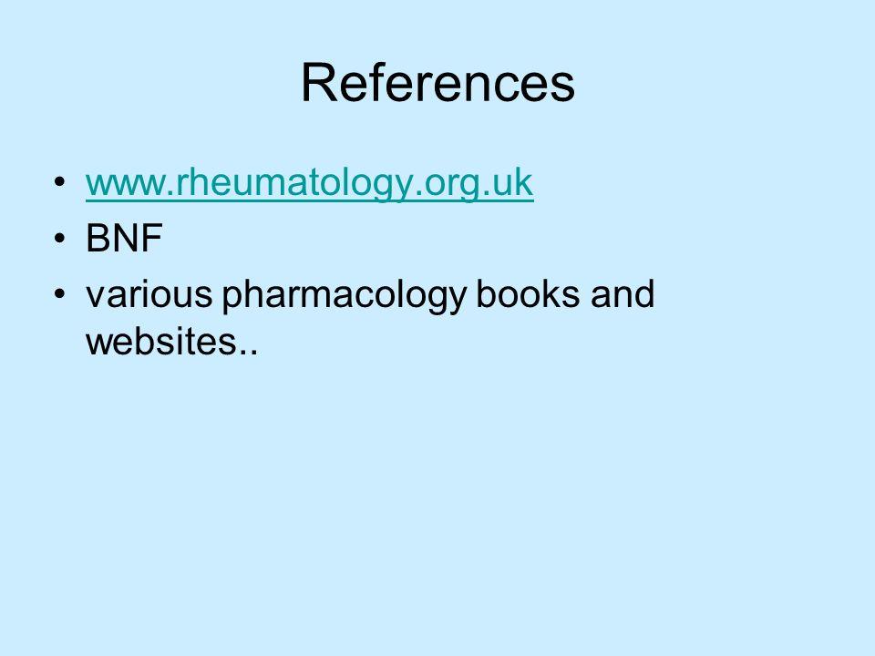 References www.rheumatology.org.uk BNF various pharmacology books and websites..