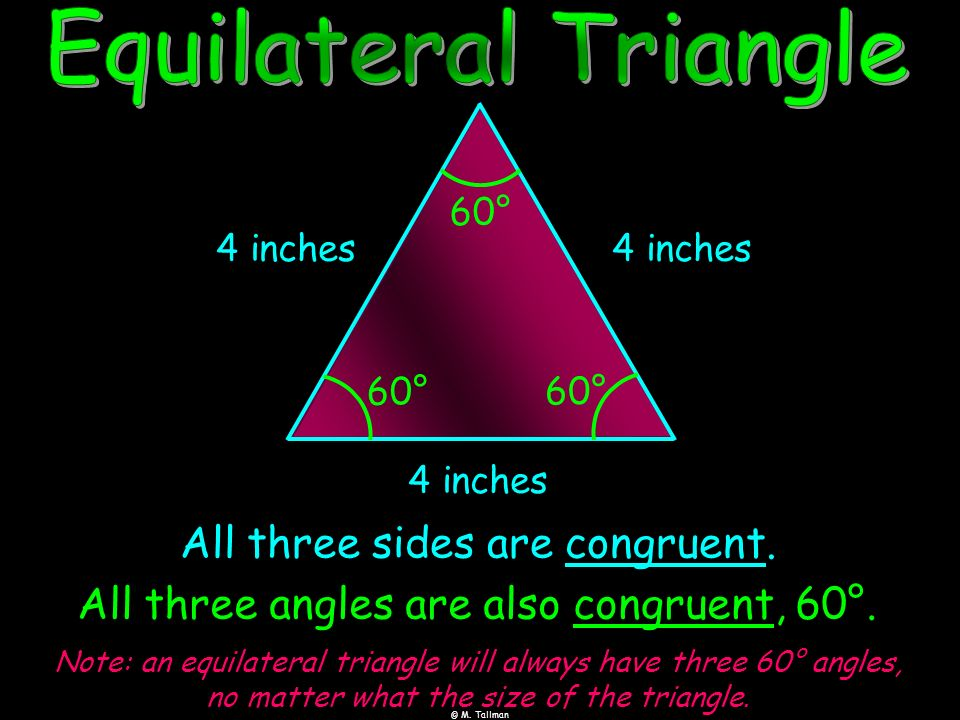 All three sides are congruent. 4 inches 4 inches 4 inches All three angles are also congruent, 60°. 60° 60° 60° Note: an equilateral triangle will alw