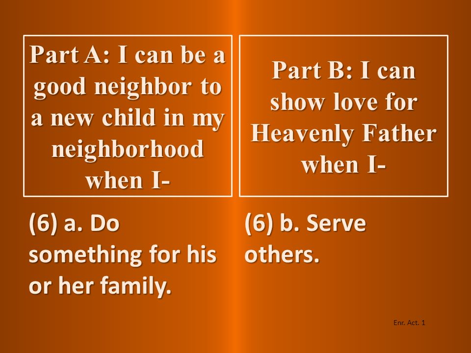 (5) a. Do something for the child. (5) b. Obey the commandments. Enr. Act. 1 Part A: I can be a good neighbor to a new child in my neighborhood when I