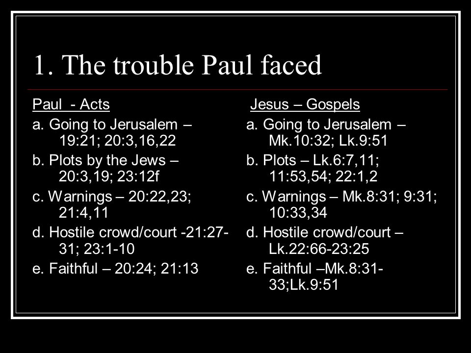 1. The trouble Paul faced Paul - Acts a. Going to Jerusalem – 19:21; 20:3,16,22 b.