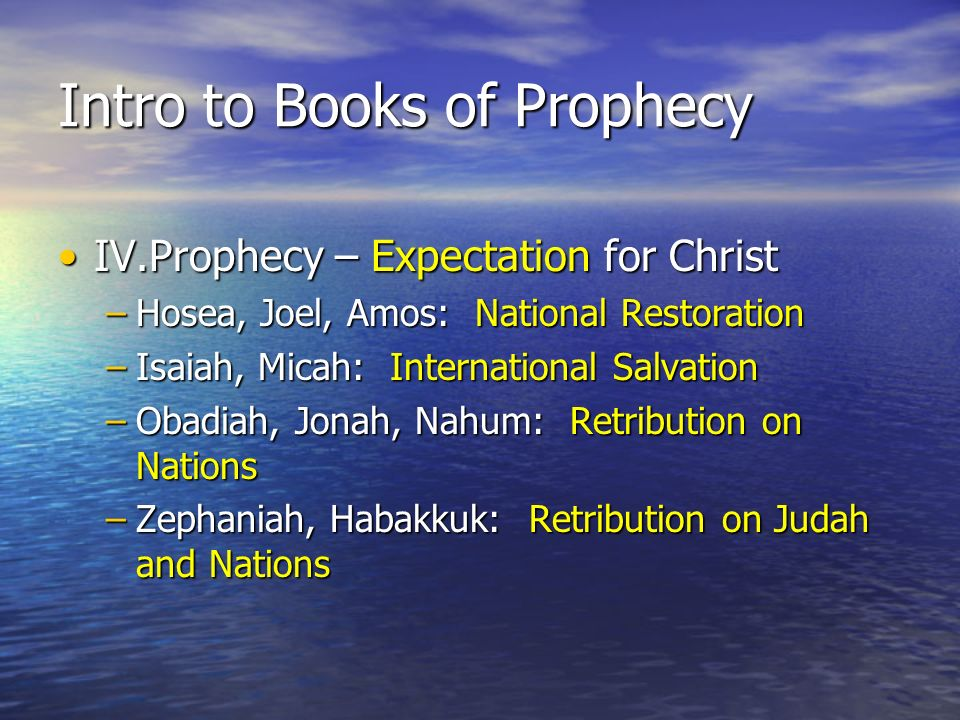 Intro to Books of Prophecy IV.Prophecy – Expectation for ChristIV.Prophecy – Expectation for Christ –Hosea, Joel, Amos: National Restoration –Isaiah,