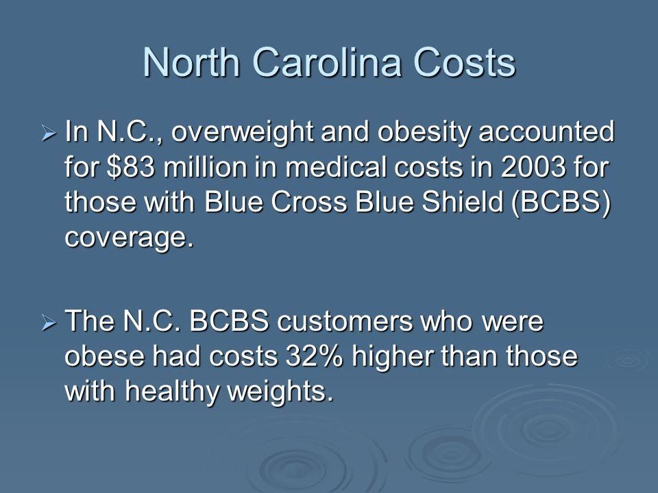 North Carolina Costs In N.C., overweight and obesity accounted for $83 million in medical costs in 2003 for those with Blue Cross Blue Shield (BCBS) coverage.