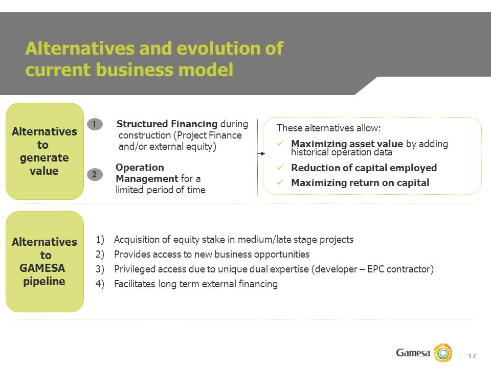 17 Alternatives and evolution of current business model Alternatives to generate value Alternatives to GAMESA pipeline These alternatives allow: Maximizing asset value by adding historical operation data Reduction of capital employed Maximizing return on capital Structured Financing during construction (Project Finance and/or external equity) 1 Operation Management for a limited period of time 2 1)Acquisition of equity stake in medium/late stage projects 2)Provides access to new business opportunities 3)Privileged access due to unique dual expertise (developer – EPC contractor) 4)Facilitates long term external financing