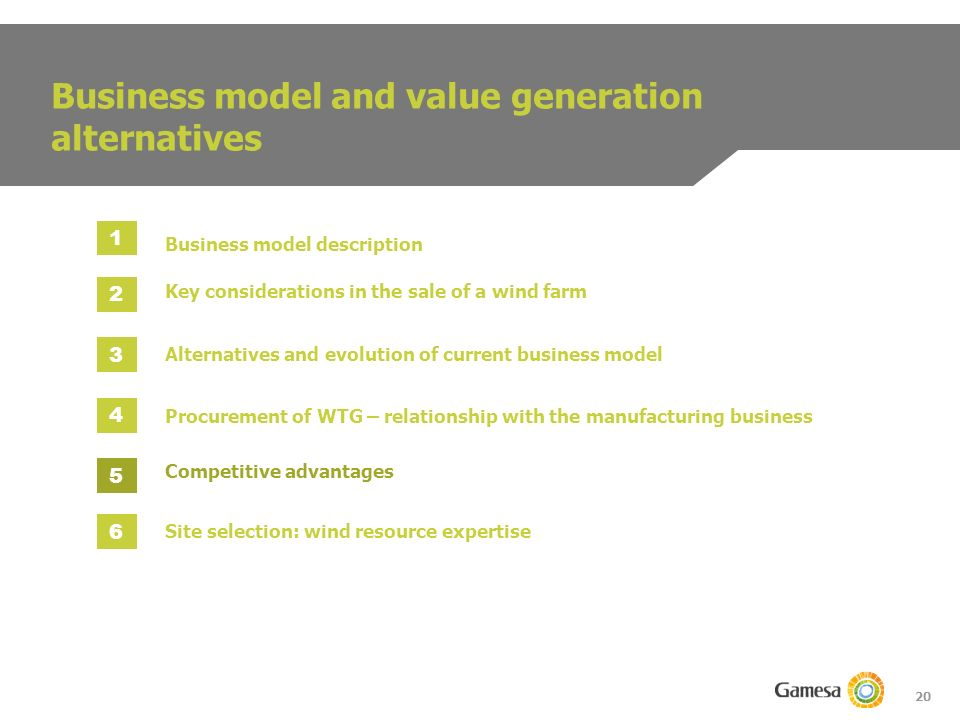 20 Business model and value generation alternatives Business model description 1 2 3 4 5 Procurement of WTG – relationship with the manufacturing business Key considerations in the sale of a wind farm Alternatives and evolution of current business model Competitive advantages 6 Site selection: wind resource expertise