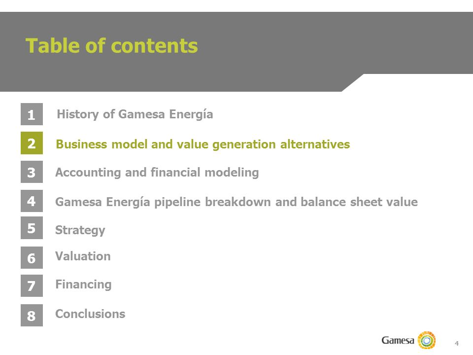 4 Table of contents 1 2 3 4 Business model and value generation alternatives Gamesa Energía pipeline breakdown and balance sheet value Accounting and financial modeling History of Gamesa Energía 5 6 Strategy Valuation 7 Conclusions 8 Financing